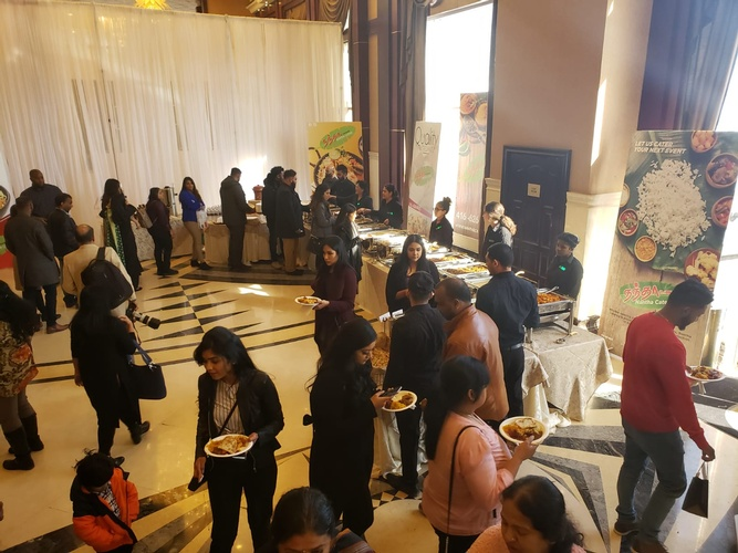 People Near the Buffet Table - South Indian Catering Markham by Nantha Caters Inc